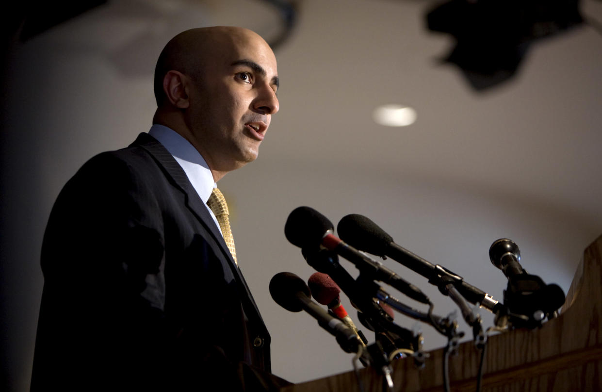 Neel Kashkari, the Treasury Department's interim assistant secretary for financial stability, speaks about a plan to ease mortgage payments for troubled borrowers through mortgage finance giants Fannie Mae and Freddie Mac on Nov. 11, 2008. (Photo: Joshua Roberts/Reuters)