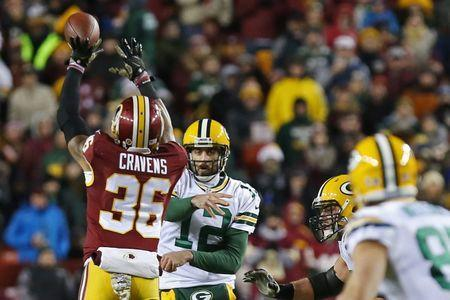 FILE PHOTO: Nov 20, 2016; Landover, MD, USA; Washington Redskins safety Su'a Cravens (36) deflects a pass from Green Bay Packers quarterback Aaron Rodgers (12) intended for Packers wide receiver Jordy Nelson (87) in the second quarter at FedEx Field. Geoff Burke-USA TODAY Sports