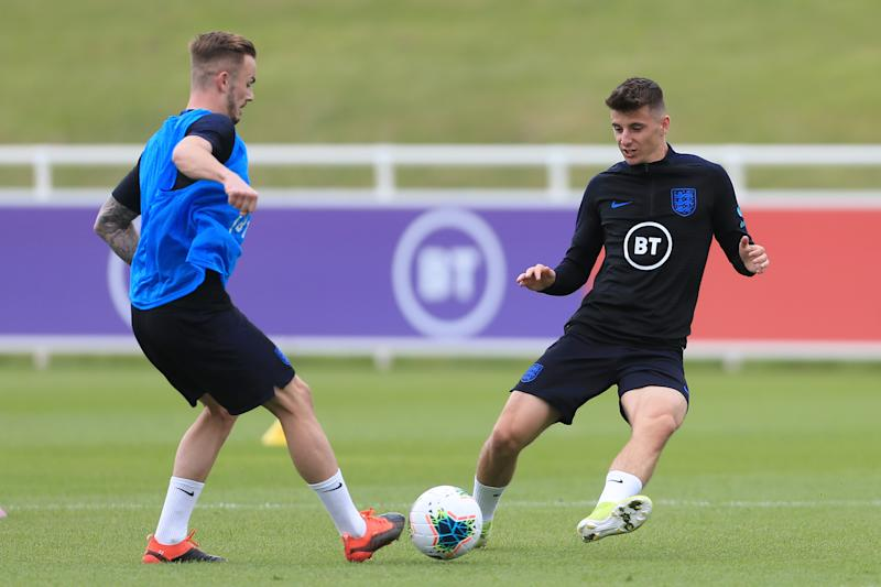 James Maddison and Mason Mount compete for the ball during an England training session. (Credit: Getty Images)