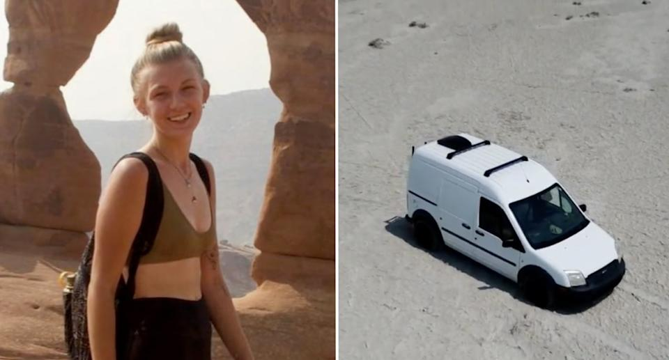 Gabby and the couple's converted white van.