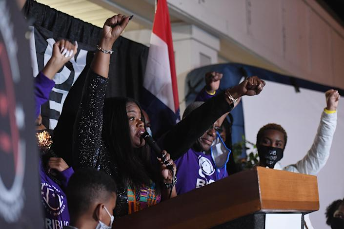 Congresswoman-elect Cori Bush (D-Mo) speaks during her election night watch party event on November 3, 2020. (Photo by Michael B. Thomas/Getty Images)