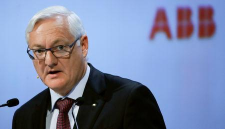 FILE PHOTO: Chairman Peter Voser of Swiss power technology and automation group ABB addresses the company's annual shareholder meeting in Zurich, Switzerland, March 29, 2018. REUTERS/Arnd Wiegmann