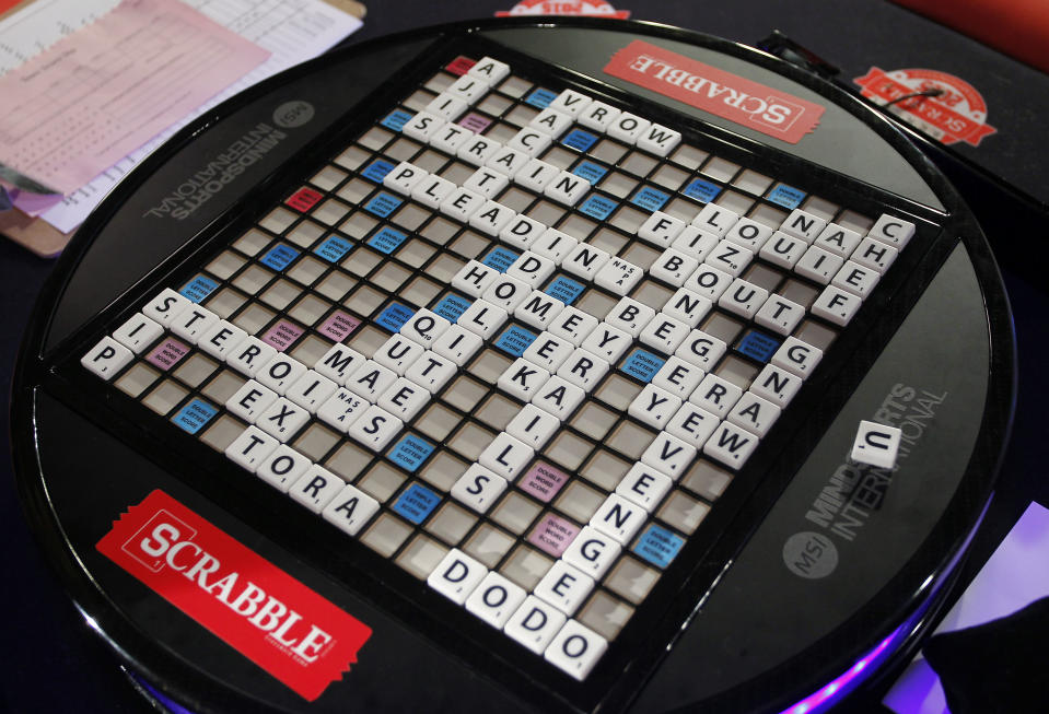 The winning SCRABBLE board of teammates Noah Kalus, from New Paltz, N.Y. and Zach Ansell, from Los Angeles, Calif., not pictured, after defeating teammates Matias Shundi, and Javier Contreras, not pictured, both from Chapel Hill, N.C., in the finals of the 2015 North American School SCRABBLE Championship, at Hasbro headquarters in Pawtucket, R.I., Sunday, May 17, 2015. Kalus and Ansell won, 587 to 331. (Stew Milne/AP Images for Hasbro)