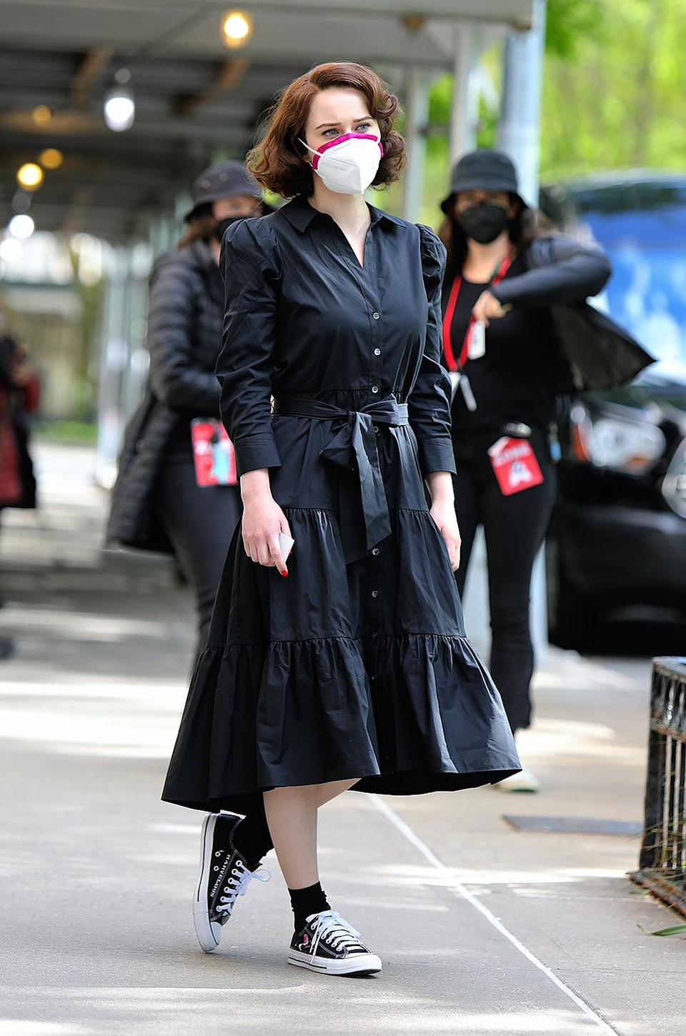 <p>Brosnahan sported a black dress, a mask and black Converse with 'Marvelous' embroidered on them on May 12. </p>