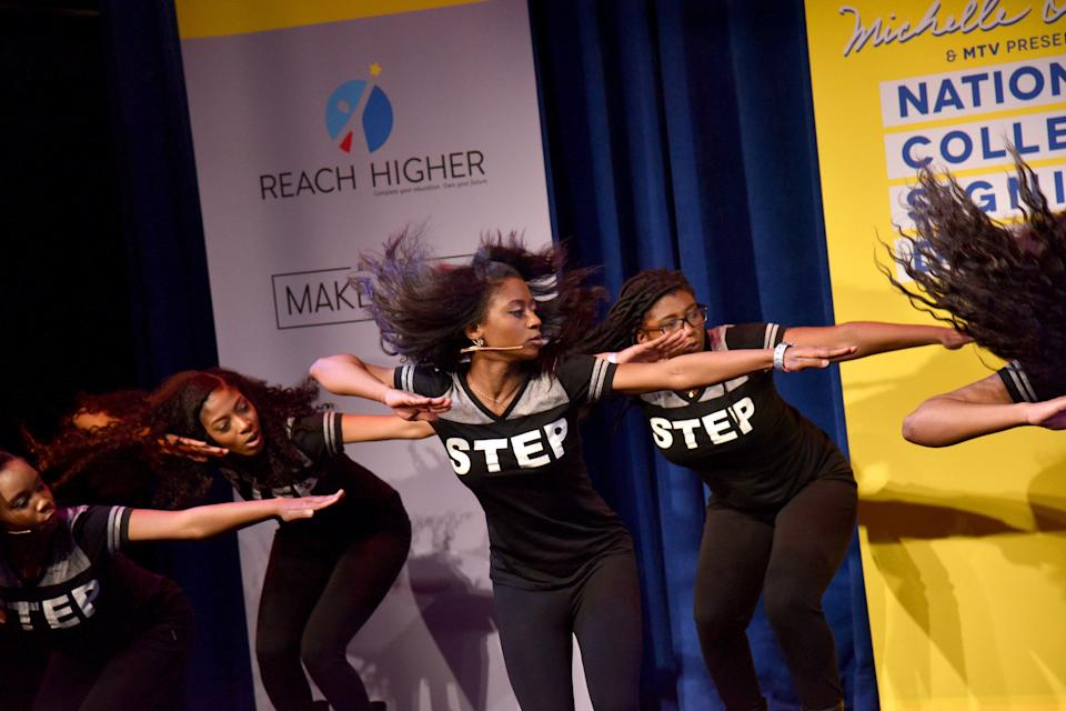NEW YORK, NY - MAY 05:  A step troupe performs onstage during MTV's 2017 College Signing Day With Michelle Obama at The Public Theater on May 5, 2017 in New York City.  (Photo by Bryan Bedder/Getty Images for MTV)