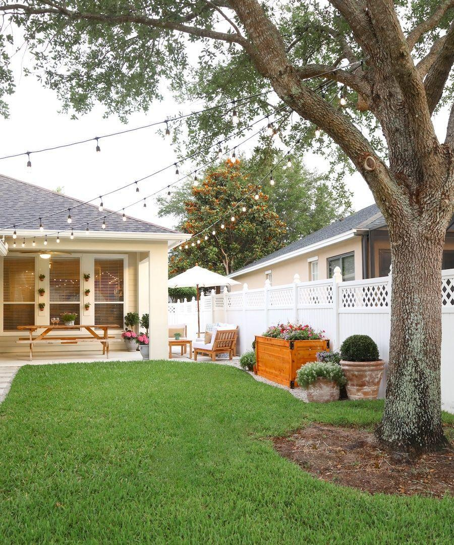 """<p>This setup proves you don't need much to light up your backyard. Simply drape string lights from a big tree to the roof of your house and watch your backyard shine.</p><p><strong>See more at</strong> <strong><a href=""""https://ashleybrookedesigns.com/backyard-diy-series-part-ii-canopy-lights/"""" rel=""""nofollow noopener"""" target=""""_blank"""" data-ylk=""""slk:Ashley Brooke Designs"""" class=""""link rapid-noclick-resp"""">Ashley Brooke Designs</a>.</strong></p><p><a class=""""link rapid-noclick-resp"""" href=""""https://www.amazon.com/Backyard-Hanging-Outdoor-Pergola-Deckyard/dp/B00RQHBZVS/ref=sr_1_12?tag=syn-yahoo-20&ascsubtag=%5Bartid%7C10050.g.3404%5Bsrc%7Cyahoo-us"""" rel=""""nofollow noopener"""" target=""""_blank"""" data-ylk=""""slk:SHOP STRING LIGHTS"""">SHOP STRING LIGHTS</a></p>"""