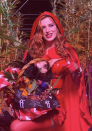"""<p>As Little Red Riding Hood.</p><p>On Instagram, Thorne <a href=""""https://www.instagram.com/p/CGvEcyHsVwI/"""" rel=""""nofollow noopener"""" target=""""_blank"""" data-ylk=""""slk:wrote of the costume"""" class=""""link rapid-noclick-resp"""">wrote of the costume</a>, """"Lil red 👑 grandma doesn't approve of my outfit 🥺""""</p>"""