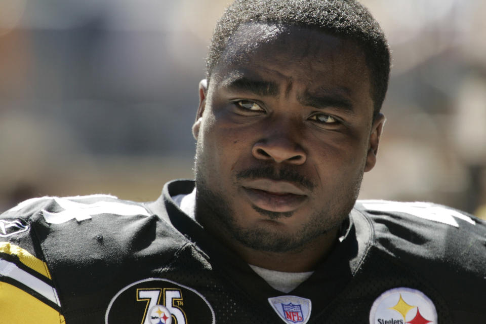 """FILE - This Sunday, Sept. 23, 2007, file photo shows Pittsburgh Steelers' Najeh Davenport in Pittsburgh. Thousands of retired Black professional football players, their families and supporters are demanding an end to the controversial use of """"race-norming"""" to determine which players are eligible for payouts in the NFL's $1 billion settlement of brain injury claims, a system experts say is discriminatory. (AP Photo/Gene J. Puskar, File)"""