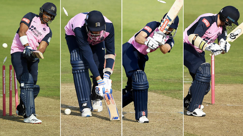 John Simpson, Steve Finn, Thilan Walallawita and Tim Murtagh, pictured here all being bowled.