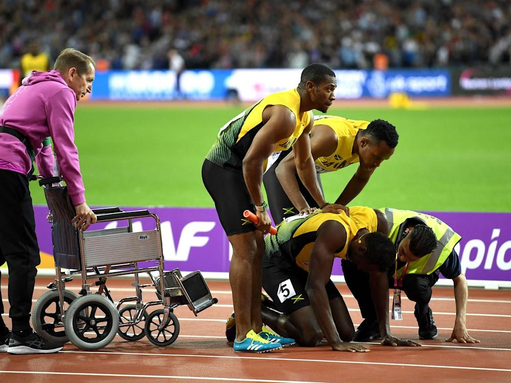 Bolt's teammates believe the pre-race delayed caused his injury (Getty)