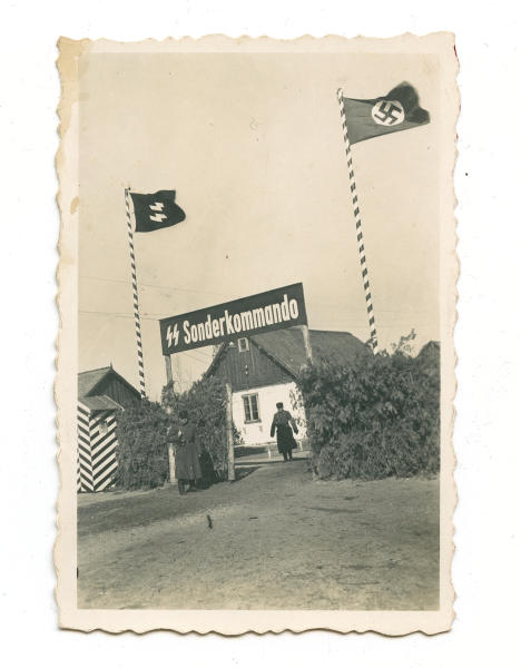 This 1942-43 photo provided by the U.S. Holocaust Memorial Museum shows a gate at the Nazi death camp Sobibor in German-occupied Poland. It's part of a collection of newly discovered photos kept by Johann Niemann, the deputy commander of the camp. (U.S. Holocaust Memorial Museum via AP)