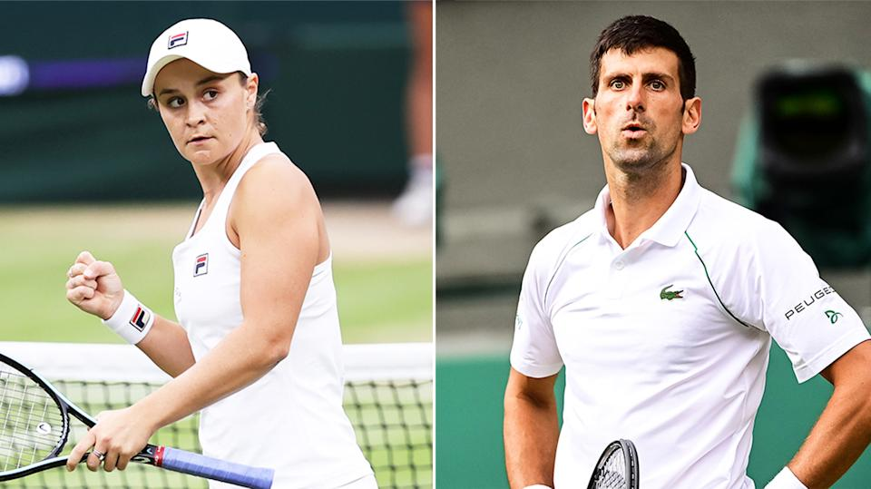 Ash Barty (pictured left) celebrating her win and Novak Djokovic (pictured right) looking up to his player's box.