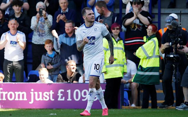 "Soccer Football - National League Play-Off Semi Final - Tranmere Rovers vs Ebbsfleet United - Prenton Park, Birkenhead, Britain - May 5, 2018 Tranmere Rovers' James Norwood celebrates after he scored his sides first goal Action Images/Craig Brough EDITORIAL USE ONLY. No use with unauthorized audio, video, data, fixture lists, club/league logos or ""live"" services. Online in-match use limited to 75 images, no video emulation. No use in betting, games or single club/league/player publications. Please contact your account representative for further details."