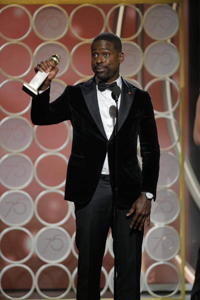 Sterling K. Brown accepts the award for Best Performance by an Actor in a Television Series — Drama for <em>This Is Us</em>. (Photo: Paul Drinkwater/NBCUniversal via Getty Images)