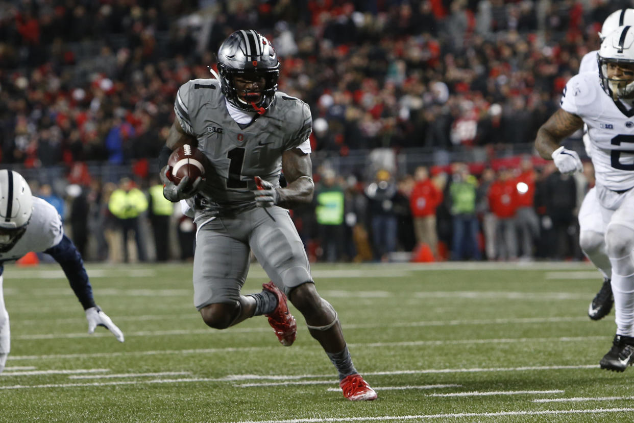 Ohio State receiver receiver receiver Johnnie Dixon plays against Penn State during an NCAA college football game Saturday, Oct. 28, 2017, in Columbus, Ohio. (AP Photo/Jay LaPrete)