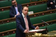 Britain's Health Secretary Matt Hancock delivers a statement on the coronavirus disease (COVID-19) pandemic during a debate at the House of Commons in London