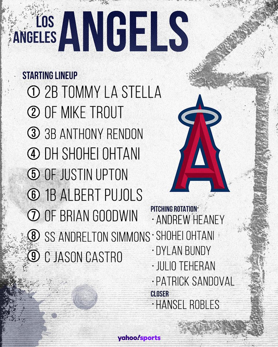 Los Angeles Angels projected lineup. (Photo by Paul Rosales/Yahoo Sports)