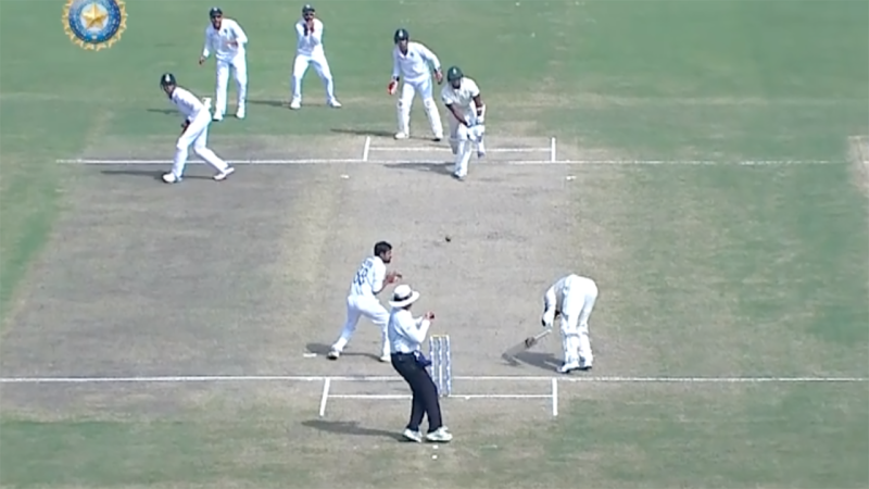 Lungi Ngidi, pictured here being dismissed to end the Test match.