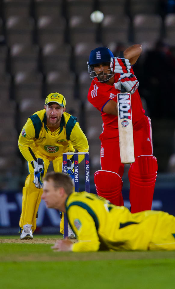 England's Ravi Bopara faces Australia's Adam Voges during the Fifth One Day International at the Ageas Bowl, Southampton.