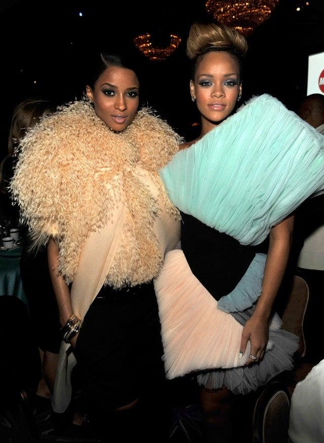 Ciara and Rihanna at the 52nd Annual GRAMMY Awards - Salute To Icons Honoring Doug Morris held at The Beverly Hilton Hotel on January 30, 2010 in Beverly Hills, California.