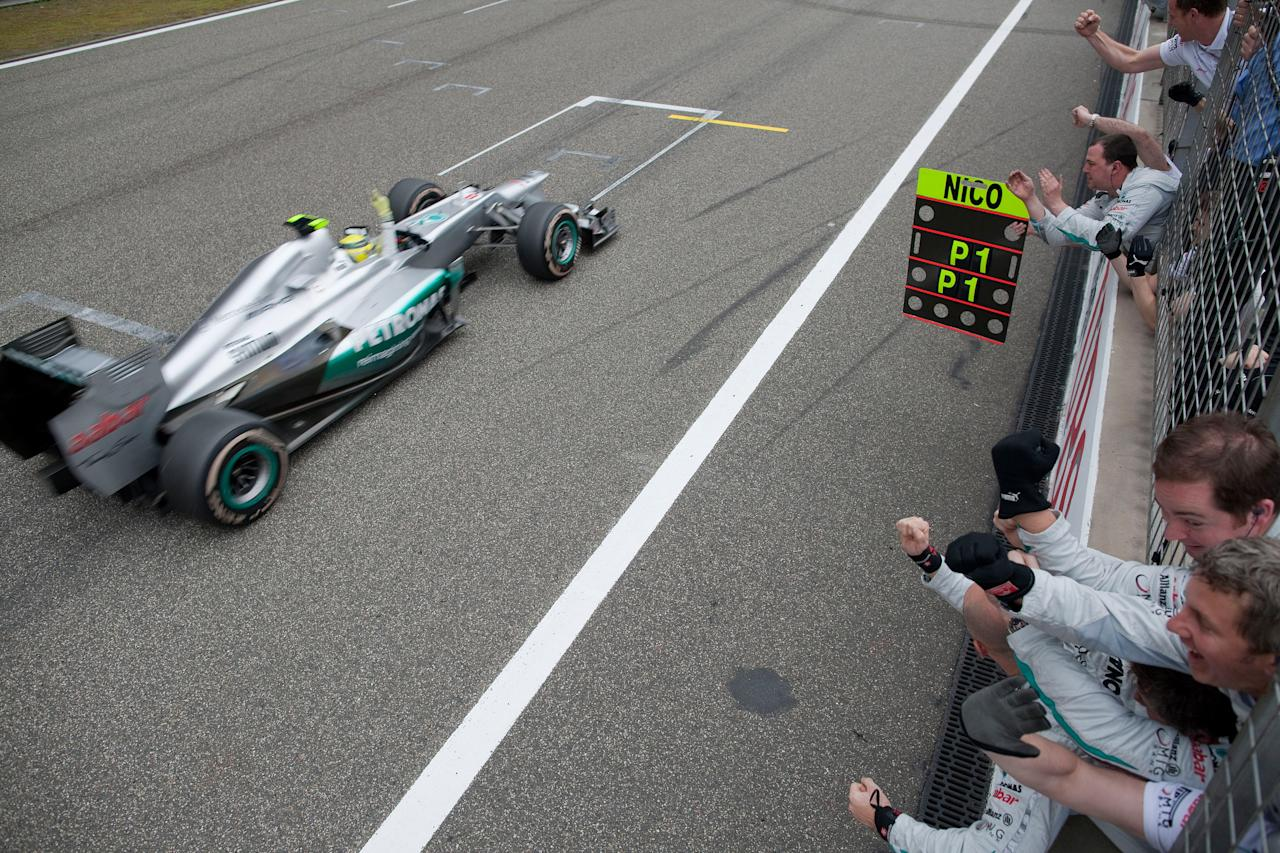 SHANGHAI, CHINA - APRIL 15:  Nico Rosberg of Mercedes and Germany wins the Chinese Formula One Grand Prix at the Shanghai International Circuit on April 15, 2012 in Shanghai, China.  (Photo by Peter J Fox/Getty Images)