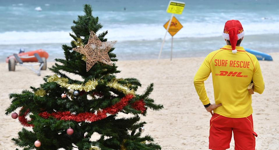 Christmas tree and surf rescuer on Bondi Beach, Sydney.