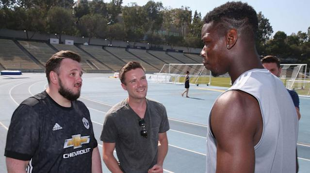 <p>Game of Thrones stars John Bradley-West (Samwell Tarly) and Joe Dempsie (Gendry) get up close with Paul Pogba at Manchester United training.</p>
