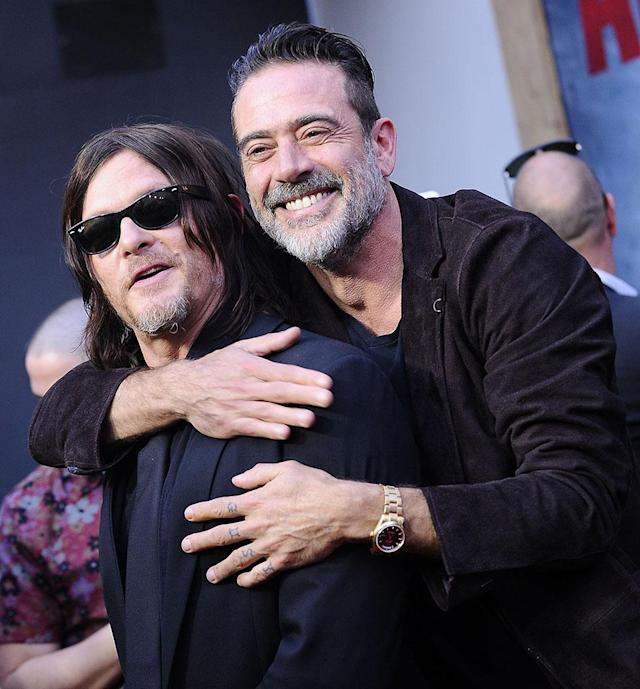 <p><em>The Walking Dead</em> stars got all loved up at the celebration of the long-awaited 100th episode Sunday night at the Greek Theatre in L.A. (Photo: Jason LaVeris/FilmMagic) </p>