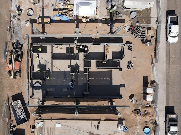 overhead view of the site of the 3D-printed home.