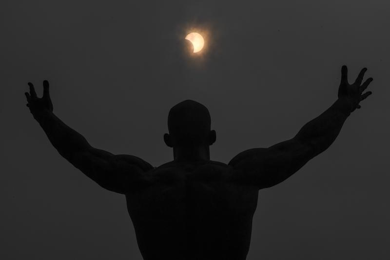 CHANGCHUN, June 21, 2020 -- The double exposure photo taken on June 21, 2020 shows a partial solar eclipse in Changchun, northeast China's Jilin Province. (Photo by Zhang Nan/Xinhua via Getty) (Xinhua/Zhang Nan via Getty Images)