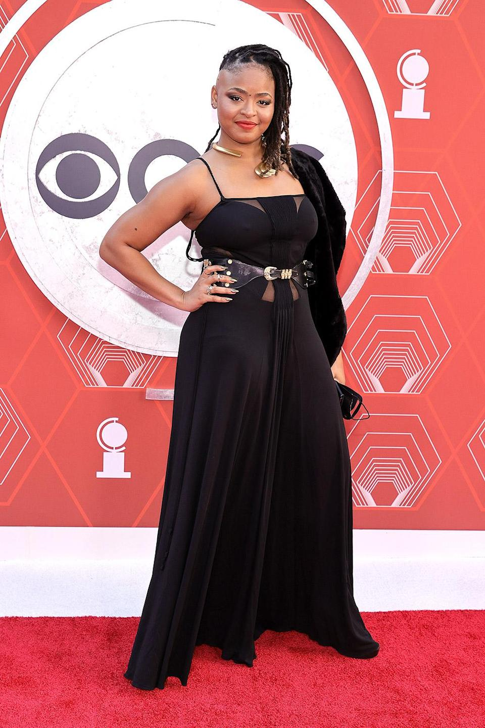 <p>Actress Tendayi Kuumba attends the 2021 Tony Wards in a black gown. </p>