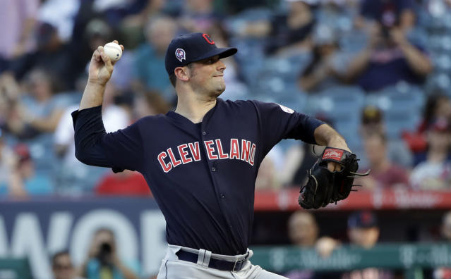 Cleveland Indians starting pitcher Adam Plutko throws to a Los Angeles Angels batter during the first inning of a baseball game Wednesday, Sept. 11, 2019, in Anaheim, Calif. (AP Photo/Marcio Jose Sanchez)