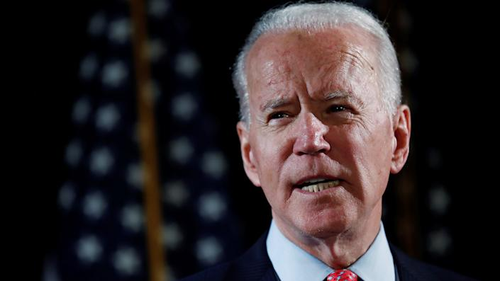 Democratic U.S. presidential candidate and former Vice President Joe Biden speaks about responses to the COVID-19 coronavirus pandemic at an event in Wilmington, Delaware, U.S., March 12, 2020. REUTERS/Carlos Barria