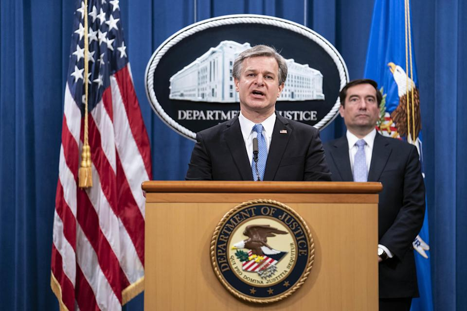 Christopher Wray, director of the FBI, speaks during a news conference at the Department of Justice in Washington, D.C., on Wednesday, October 28, 2020. / Credit: Sarah Silbiger/Getty Images/Bloomberg