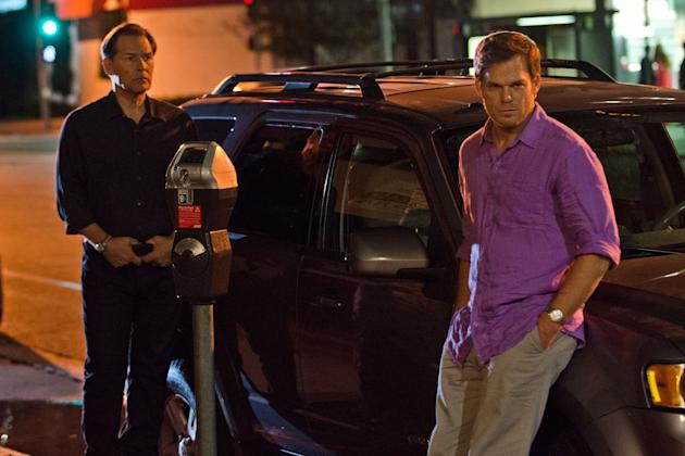 James Remar as Harry Morgan and Michael C. Hall as Dexter Morgan in the 'Dexter' Season 8 episode, 'Dress Code.'