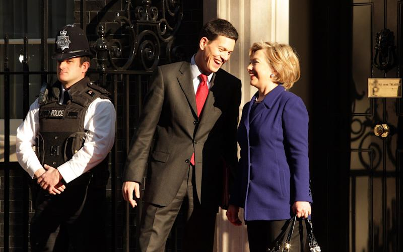 David Miliband with Hillary Clinton - Credit: Getty