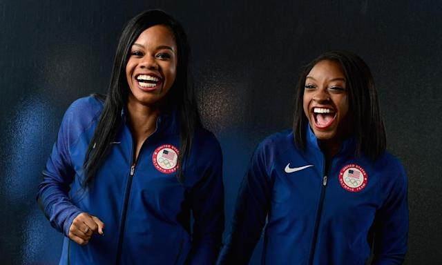 "<span class=""element-image__caption"">Gabby Douglas, left, and Simone Biles captured gold medals in the team event at last year's Olympics.</span> <span class=""element-image__credit"">Photograph: Harry How/Getty Images</span>"