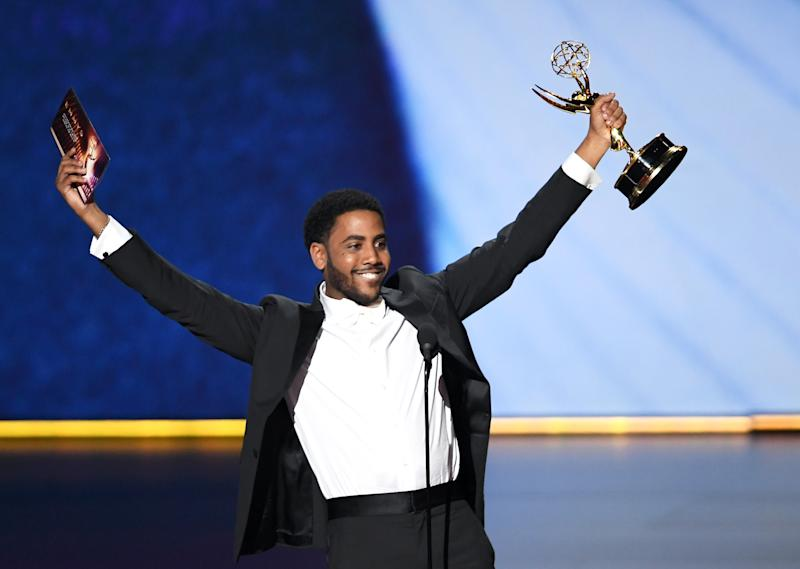 LOS ANGELES, CALIFORNIA - SEPTEMBER 22: Jharrel Jerome accepts the Outstanding Lead Actor in a Limited Series or Movie award for 'When They See Us' onstage during the 71st Emmy Awards at Microsoft Theater on September 22, 2019 in Los Angeles, California. (Photo by Kevin Winter/Getty Images)