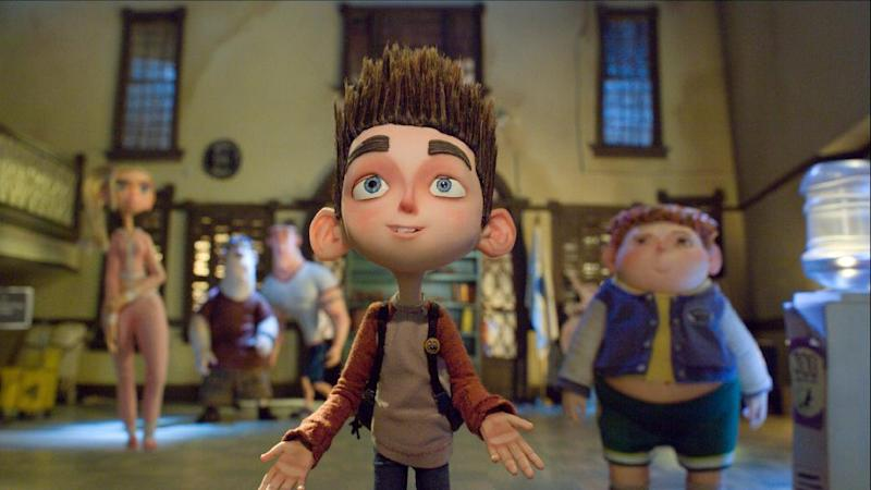 "This film image released by Focus Features shows the character Norman, voiced by Kodi Smit-McPhee, in the 3D stop-motion film, ""ParaNorman."" (AP Photo/Focus Features)"