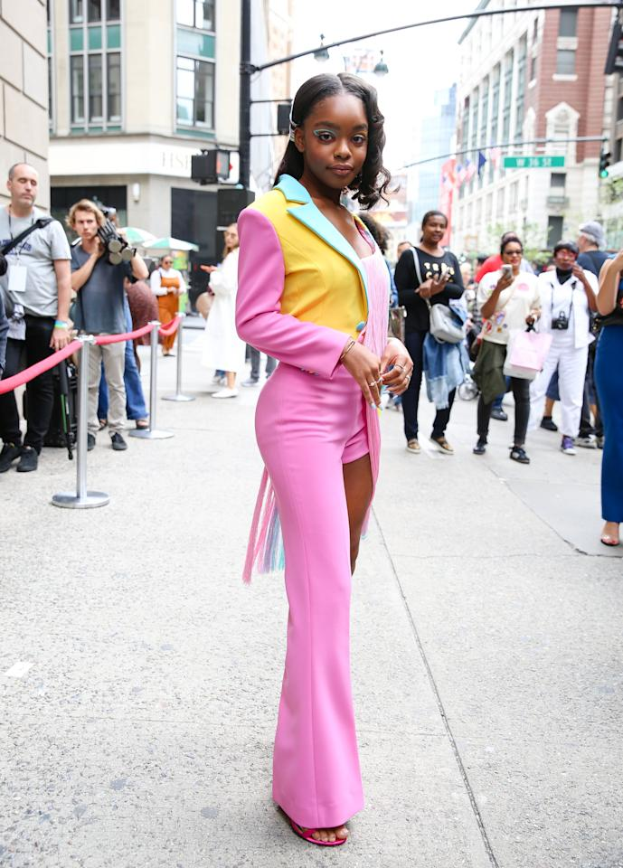 <p>Marsai Martin wore a different color graphic liner look on each of her eyes at New York Fashion Week.</p>