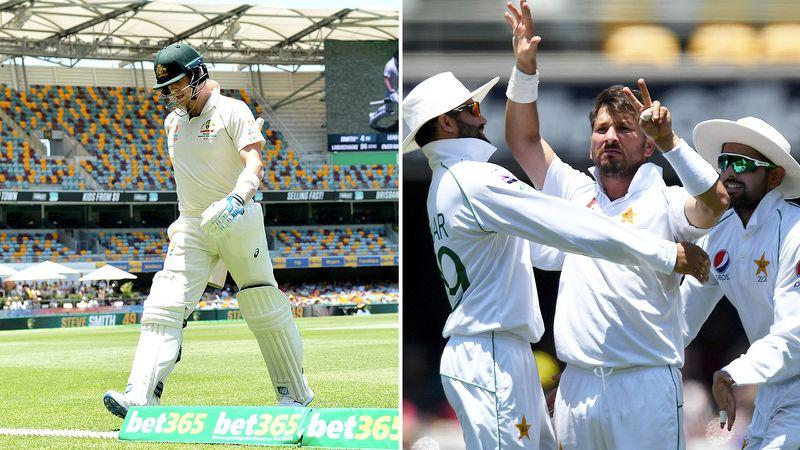Yasir Shah gave Steve Smith a seven-finger salute after taking his wicket at the Gabba.