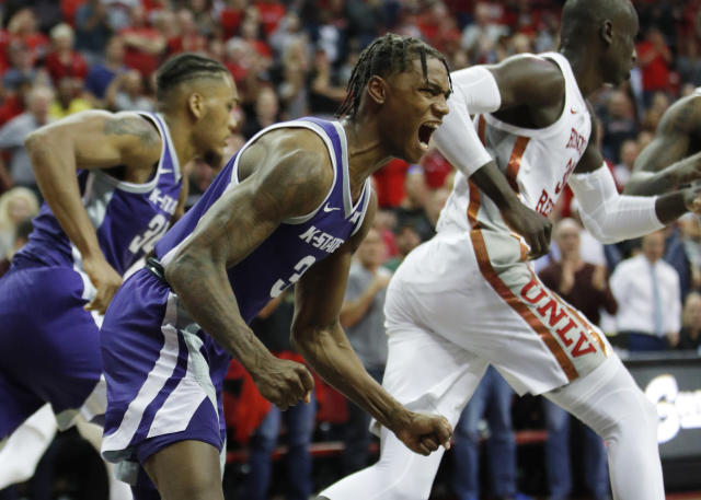 Kansas State's Dajuan Gordon (3) reacts after a play against UNLV during the second half of an NCAA college basketball game Saturday, Nov. 9, 2019, in Las Vegas. (AP Photo/John Locher)