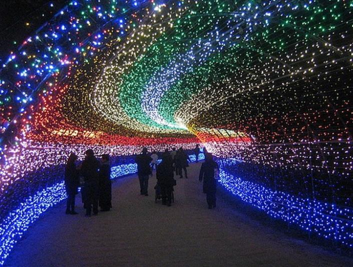 """A small crowd ambles through one of the many tunnels of light. <a href=""""http://www.mymodernmet.com/profiles/blogs/nabana-no-sato-tunnel-japan"""" rel=""""nofollow noopener"""" target=""""_blank"""" data-ylk=""""slk:(Misocutlet / My Modern Met)"""" class=""""link rapid-noclick-resp"""">(Misocutlet / My Modern Met)</a>"""