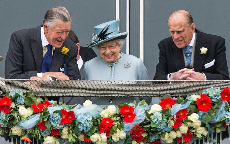 EPSOM, UNITED KINGDOM - JUNE 1:  Sir Michael Oswald, Queen Elizabeth II and Prince Philip, Duke of Edinburgh attend the Investec Epsom Derby at Epsom Racecourse on June 1, 2013 in Epsom, England. (Photo by Samir Hussein/WireImage)
