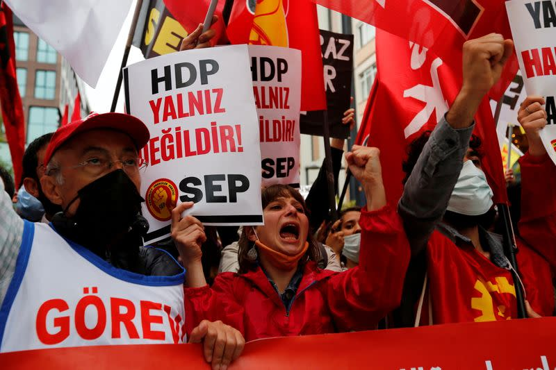 FILE PHOTO: Demonstration in solidarity with pro-Kurdish Peoples' Democratic Party (HDP) in Istanbul