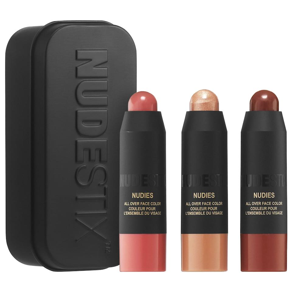 """<p>The tiny crayons in the <a href=""""https://www.popsugar.com/buy/Nudestix-Mini-Nudies-3-Piece-Kit-481781?p_name=Nudestix%20Mini%20Nudies%203-Piece%20Kit&retailer=sephora.com&pid=481781&price=25&evar1=bella%3Auk&evar9=46515699&evar98=https%3A%2F%2Fwww.popsugar.com%2Fbeauty%2Fphoto-gallery%2F46515699%2Fimage%2F46516056%2FNudestix-Mini-Nudies-3-Piece-Kit&list1=beauty%20products&prop13=api&pdata=1"""" rel=""""nofollow"""" data-shoppable-link=""""1"""" target=""""_blank"""" class=""""ga-track"""" data-ga-category=""""Related"""" data-ga-label=""""https://www.sephora.com/product/mini-nudies-3-piece-kit-P447737?skuId=2258085&amp;icid2=justarrivedmakeup_skugrid_ufe:p447737:product"""" data-ga-action=""""In-Line Links"""">Nudestix Mini Nudies 3-Piece Kit</a> ($25) make getting ready as easy as swiping and blending out with your fingers. They come in a tin with a mirror, making them the ideal set for on-the-go application.</p>"""