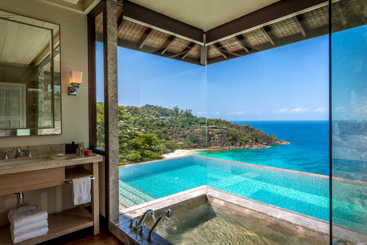 """<p><span>Want to wake up to this view? The Seychelles are heaven for beach lovers, and </span><a rel=""""nofollow"""" href=""""http://www.fourseasons.com/seychelles/offers/honeymoon-package-2017/""""><span>the Four Seasons Resort</span></a><span> features luxury villas nestled in the hillside, each with a private infinity pool and access to the white sand beyond. From £760 per night. [Photo: Four Seasons Resort]</span> </p>"""
