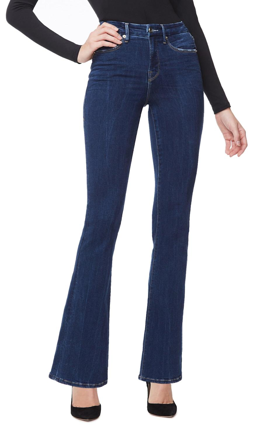 <p>Channel all the '70s vibes in these <span>Good American High Waisted Flare Leg Jeans</span> ($60, originally $165).</p>