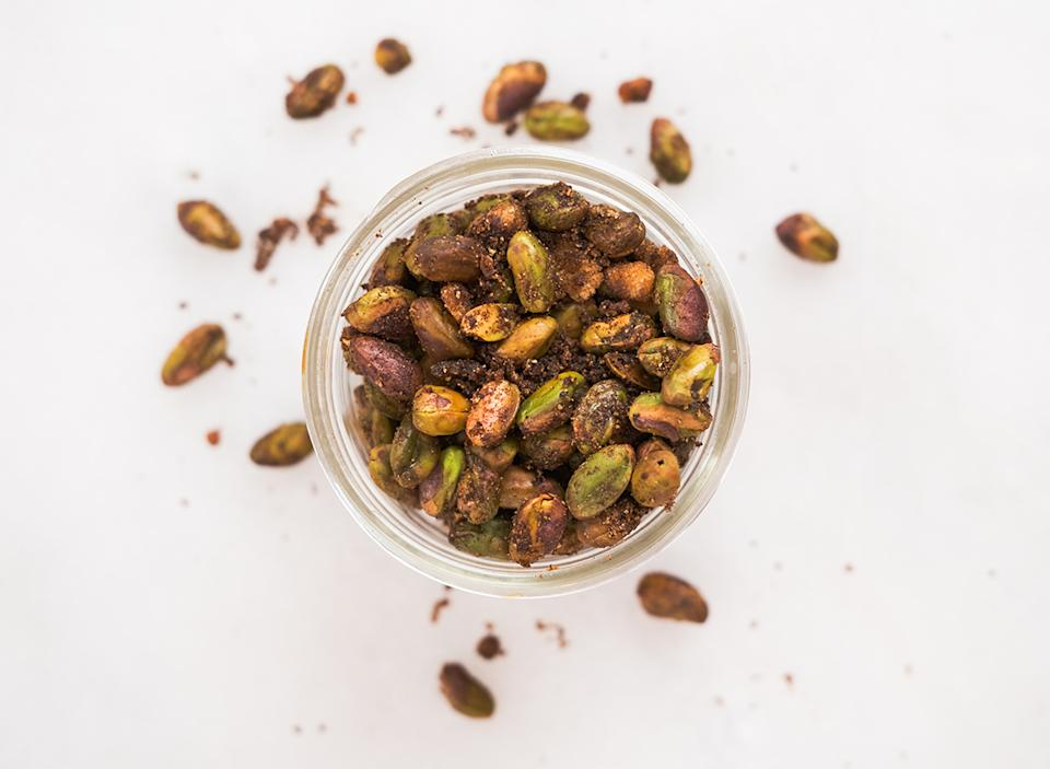 double roasted bbq flavored pistachios in a jar