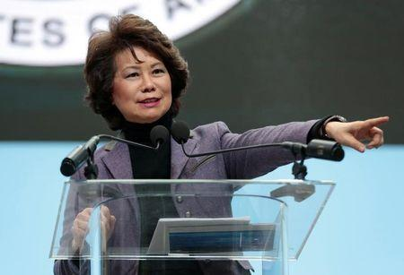 FILE PHOTO: U.S. Secretary of Transportation Elaine Chao speaks ahead of Press Days of the North American International Auto Show at Cobo Center in Detroit